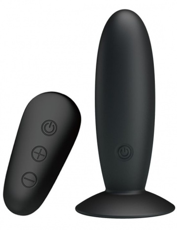 Черная анальная вибропробка Mr.Play с пультом - 11 см.