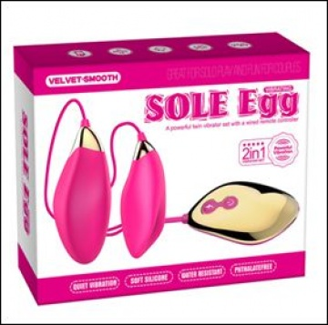Парные розовые виброяца Sole Egg с пультом
