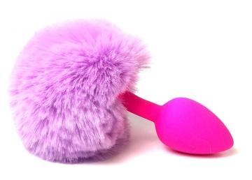 Розовая анальная пробка с пушистым лиловым хвостиком зайки