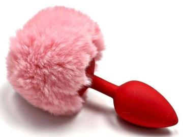 Красная анальная пробка с пушистым нежно-розовым хвостиком зайчика
