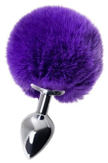 Серебристая анальная пробка с пушистым фиолетовым хвостиком зайки