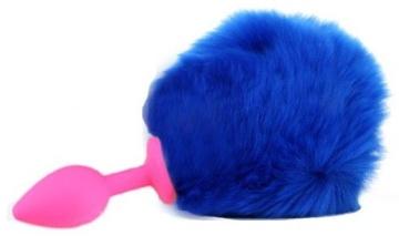 Розовая анальная пробка с пушистым синим хвостиком зайки