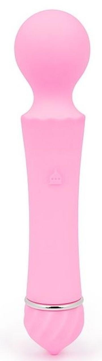 Розовый вибромассажер Sasa с круглой головкой - 16 см.