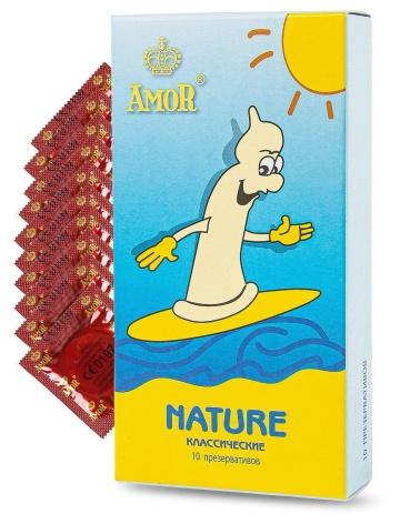 """Классические презервативы AMOR Nature """"Яркая линия"""" - 10 шт."""