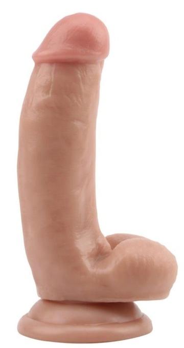 Телесный фаллоимитатор DUAL DENSITY DILDO на присоске - 17 см.