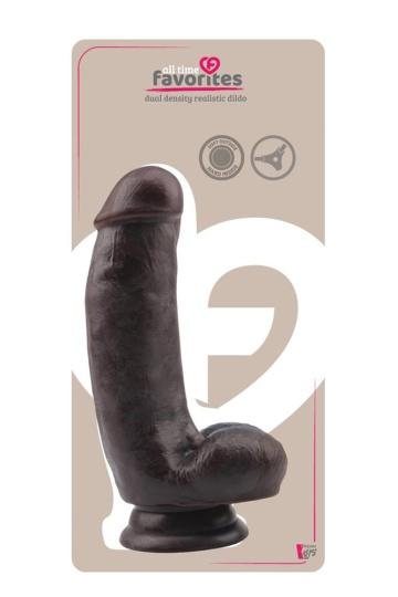 Коричневый фаллоимитатор DUAL DENSITY DILDO на присоске - 17 см.