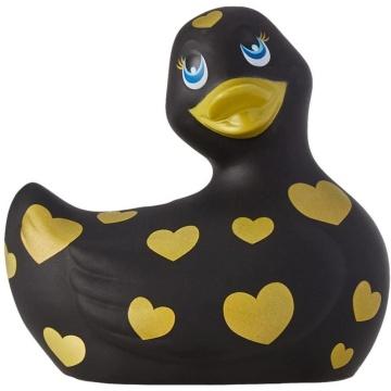 Черный вибратор-уточка I Rub My Duckie 2.0 Romance с золотистым принтом