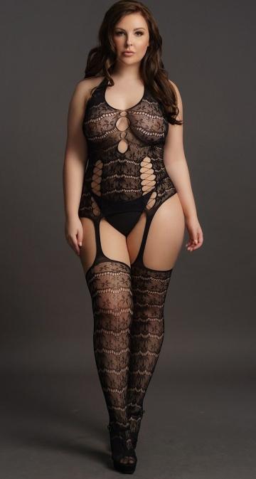Непрозрачный боди-комбинезон Lace Suspender Bodystocking