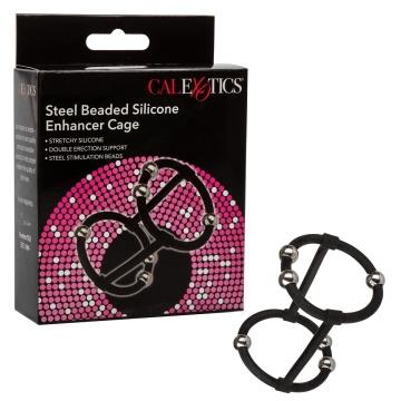 Черная клетка на пенис с бусинами Steel Beaded Silicone Enhancer Cage