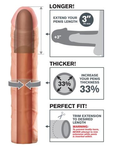 Телесная удлиняющая насадка Perfect 3 Extension - 22 см.