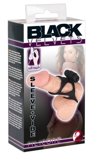 Чёрная насадка на пенис с вибропулей BLACK VELVETS