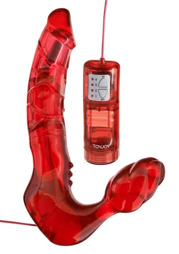 Безремневой вагинальный страпон с вибратором Bend Over Boyfriend Red - 21 см.