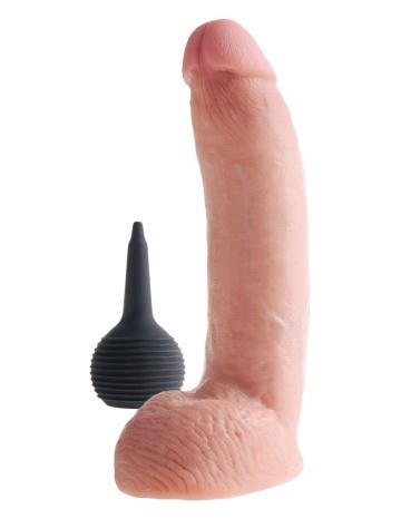 Телесный фаллоимитатор с эффектом семяизвержения Squirting Cock with Balls - 22,9 см.
