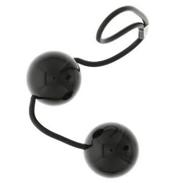 Чёрные вагинальные шарики на мягкой сцепке GOOD VIBES PERFECT BALLS
