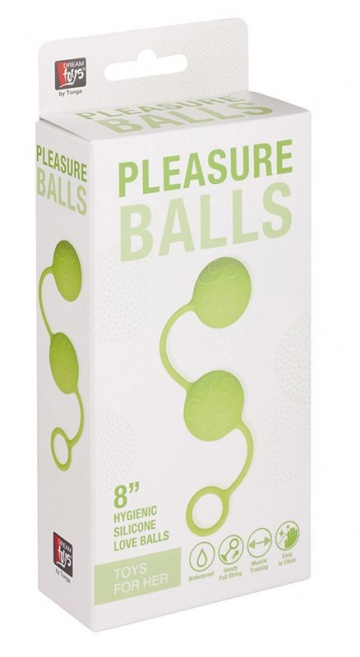Зелёные вагинальные шарики с завитушками на поверхности