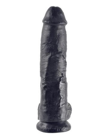 """Реалистичный чёрный фаллоимитатор-гигант 10"""" Cock with Balls - 25,4 см."""