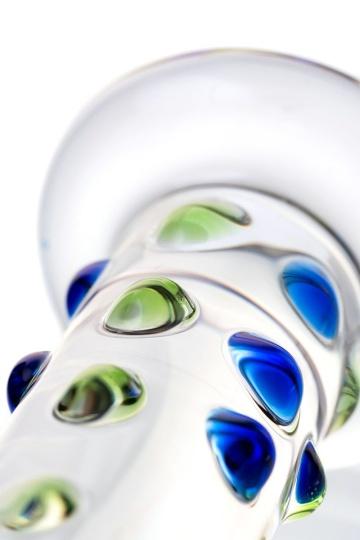 Стеклянный фаллос с цветными бусинами - 18 см.