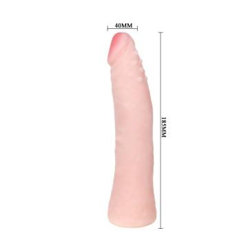 Реалистичный фаллоимитатор с шишечками под головкой - 18,5 см.