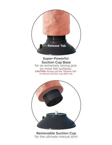 """Телесный вибратор со съемной присоской 10"""" Vibrating Cock - 25,4 см."""
