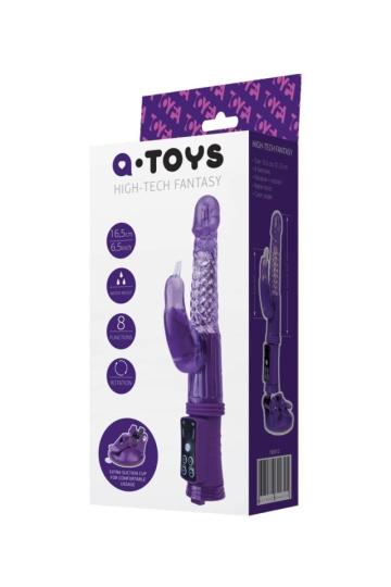 Фиолетовый вибратор с клиторальным стимулятором и крепкой присоской в основании