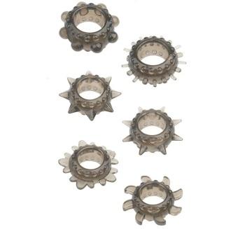Набор из 6 дымчатых эрекционных колец MENZSTUFF 6PC STRECHEABLE RING SET