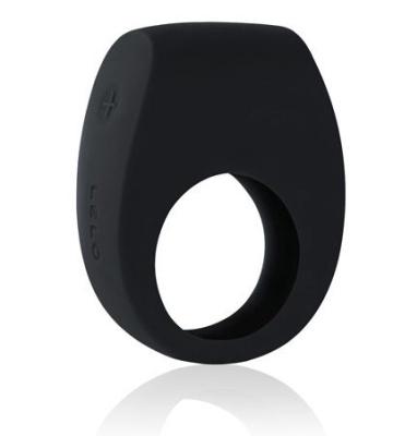 Чёрное эрекционное кольцо Tor 2 с вибрацией