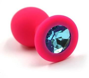 Розовая силиконовая анальная пробка с голубым кристаллом - 7 см.