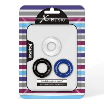 Набор из 3 разноцветных эрекционных колец Triple Donut Ring Set
