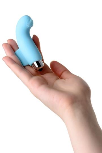 Голубая вибронасадка на палец JOS DANKO для точки G - 9,5 см.