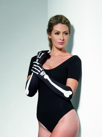 Длинные перчатки с изображением костей