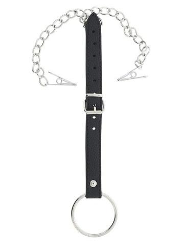 Эрекционное кольцо, соединённое ремешком с клипсами для сосков