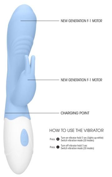 Голубой вибратор Juicy Rabbit со стимулятором клитора - 19,5 см.